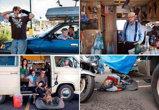 Vida alternativa: Fotógrafo registra nômades que vivem em estacionamentos