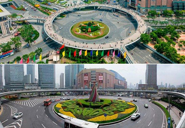 China cria ponte inovadora circular que permite que pedestres passem por cima do trânsito
