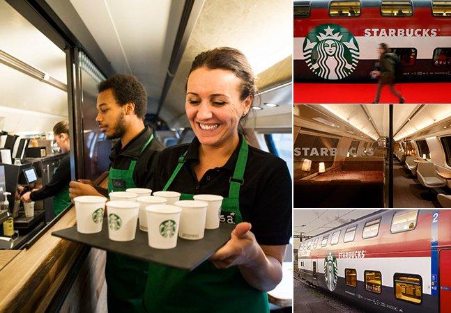 Starbucks inova e instala loja no segundo andar de um trem suíço