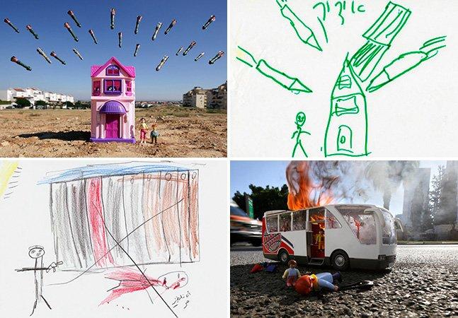 Fotógrafo usa bonecos pra recriar cenas de guerra desenhadas por crianças