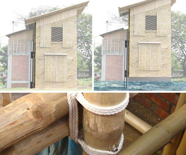A casa inovadora e sustentável de bambu que flutua em caso de inundações