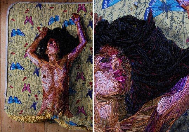 Artista faz esculturas nada convencionais utilizando linhas e colchões como tela