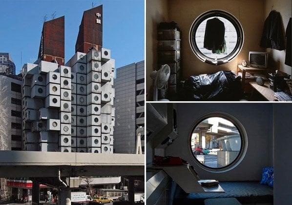 """Conheça o famoso prédio de cápsulas no Japão cujos """"apertamentos"""" têm 30m2"""