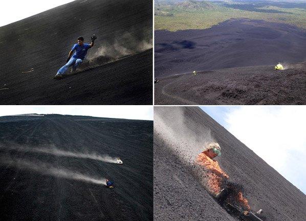 Deslizamento em vulcão: conheça esse novo esporte radical que pode chegar à velocidade de 80km/h
