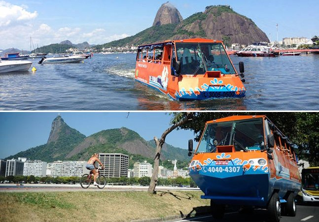"""Rio de Janeiro ganha primeiro """"ônibus anfíbio"""" do Brasil que funciona tanto na terra quanto no mar"""