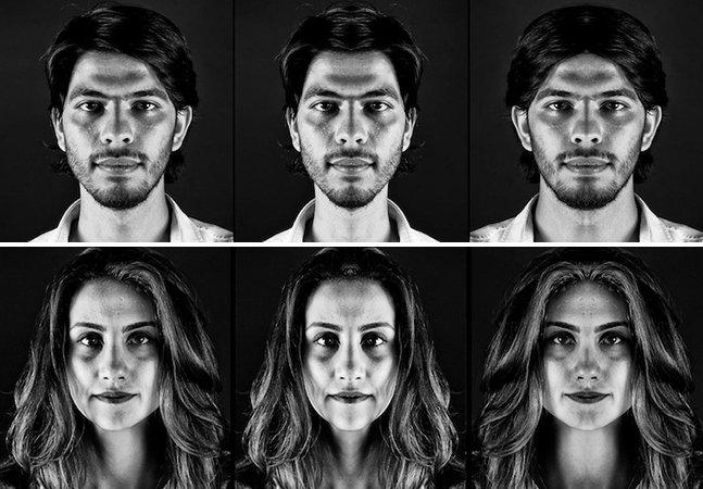 Qual o seu melhor lado? Artista revela como seria o rosto de pessoas se lado esquerdo e direito fossem simétricos