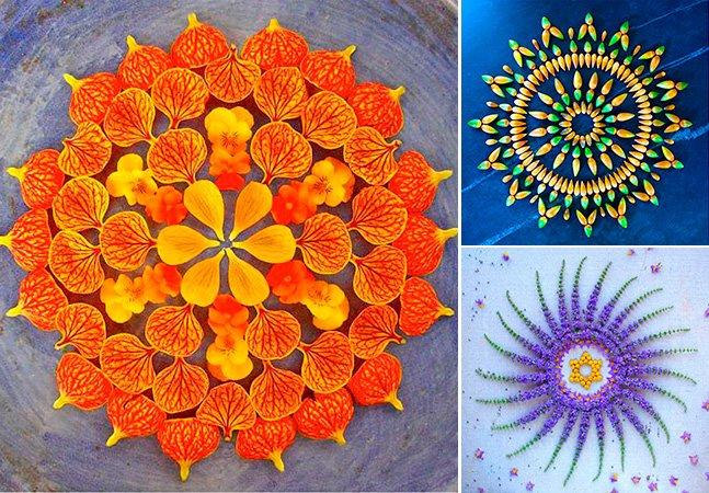 Artista usa apenas flores e plantas para criar mandalas incríveis