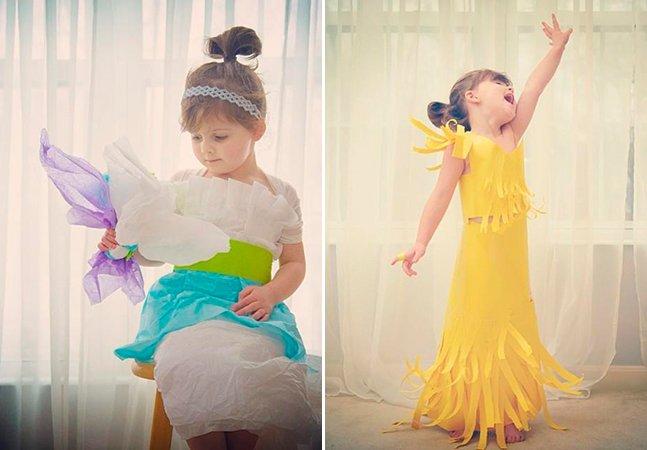 Garota de 4 anos cria vestidos de papel e vira sucesso na web