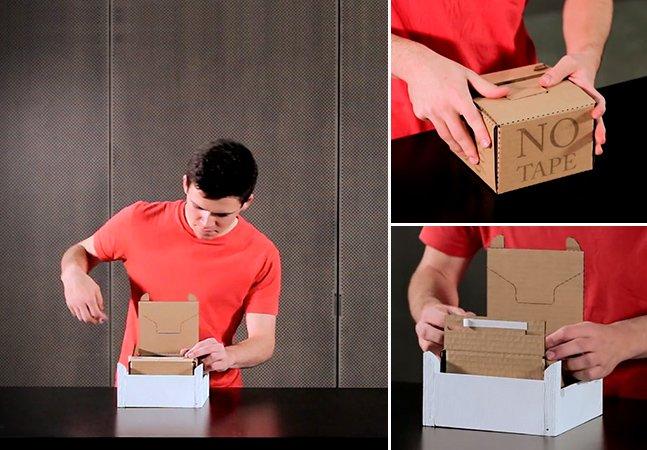 A caixa de papelão do futuro dispensa fita adesiva e se abre apenas com um toque
