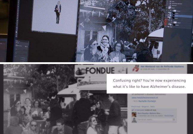 Ong insere pessoas em fotos de eventos no FB onde elas nunca estiveram pra simular a sensação de ter Alzheimer