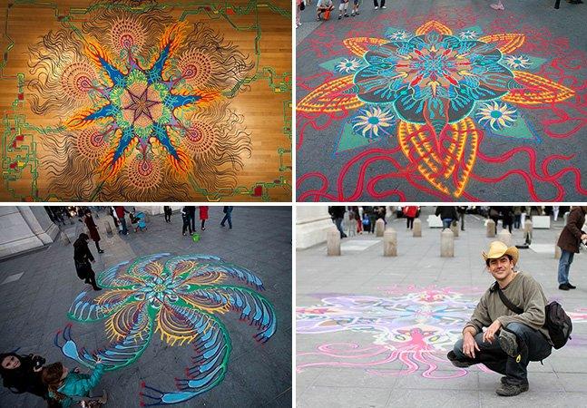 Artista cria belas artes temporárias utilizando areia colorida