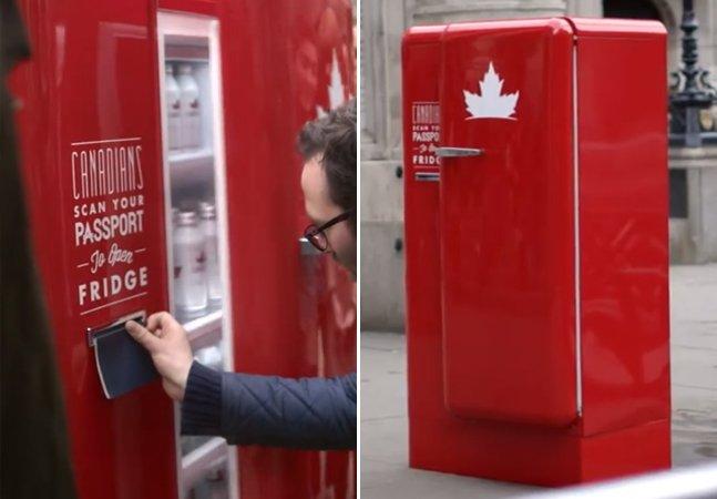 Marca de cerveja canadense instala geladeira no exterior que só abre pra quem mostrar seu passaporte
