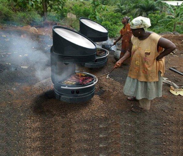 Churrasqueira solar sustentável  e inovadora assa alimentos sem utilizar carvão ou lenha