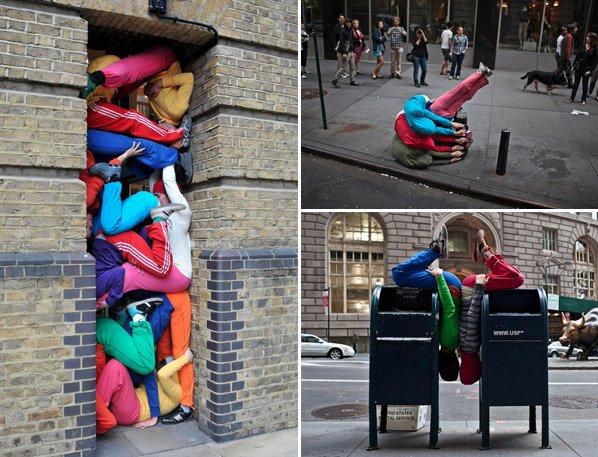 Dançarinos viram esculturas humanas e se espalham pelas ruas das cidades