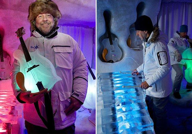 A orquestra que faz um som fantástico tocando com instrumentos feitos de gelo