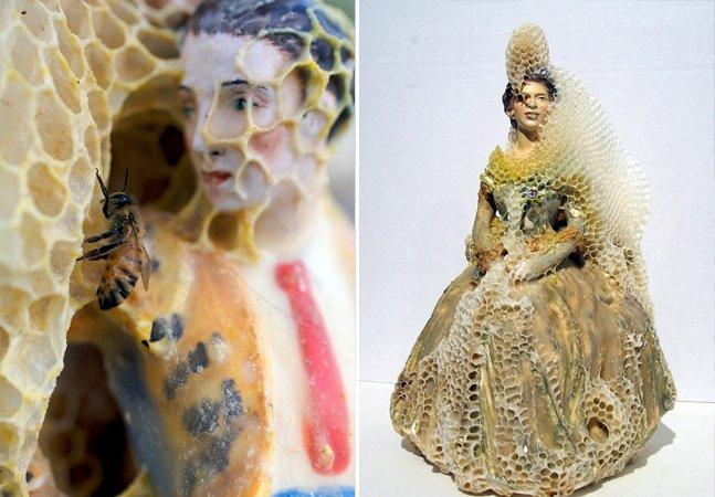 Artista faz parceria com abelhaspra criar incríveis esculturas feitas de favos de mel