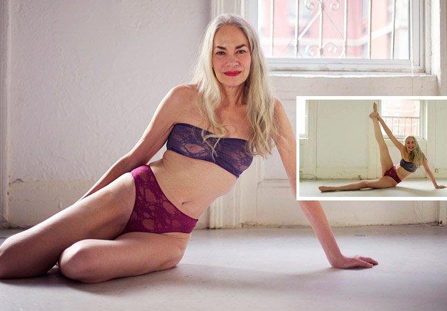 Modelo de 62 anos faz campanha de lingerie em poses sensuais sem Photoshop e questiona padrões de beleza