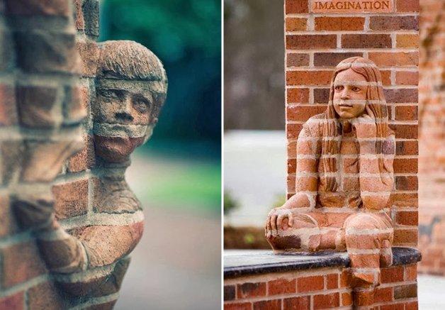 Artista utiliza tijolos e barro para fazer incríveis obras em 3D que vão confundir os seus sentidos