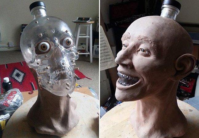 Artista reconstrói rosto humano usando como base garrafa de vodka em forma de caveira
