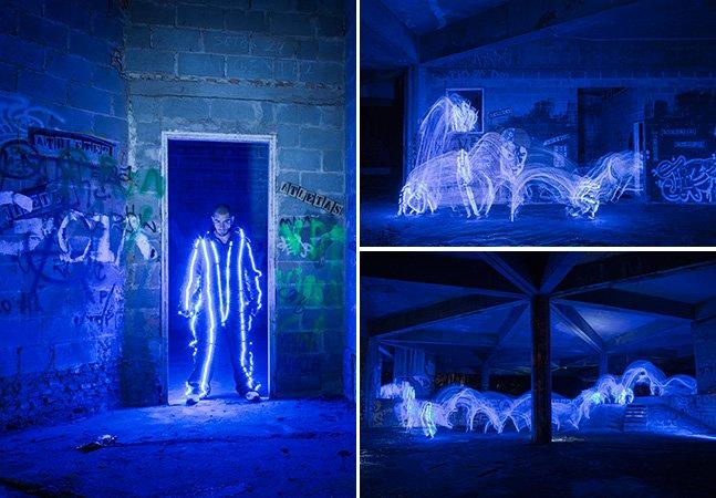 Artista brasileiro mostra os movimentos de esportistas com incríveis desenhos de luz