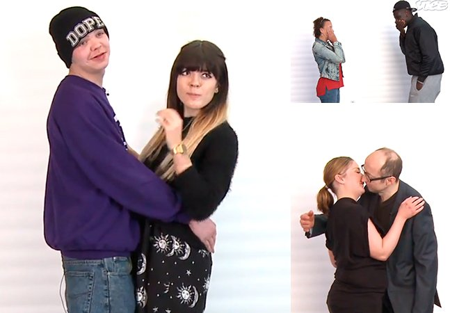 Vídeo do primeiro beijo entre desconhecidos é replicado. Mas agora com pessoas realmente desconhecidas