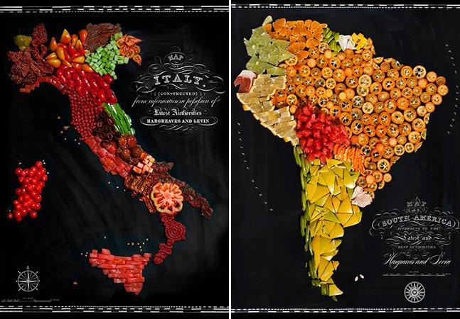 Artista cria mapas de países feitos com comida locais – e de verdade!