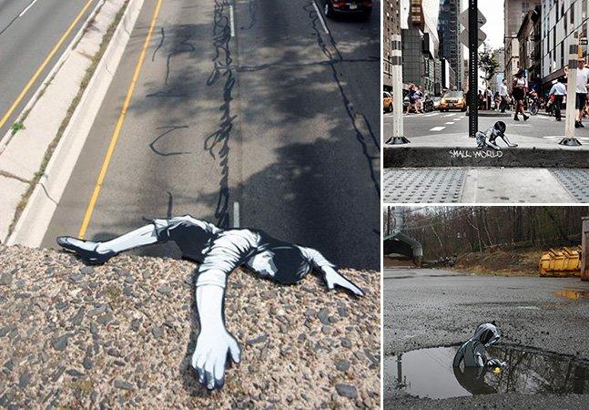 Artista cria intervenções urbanas criativas espalhando figuras de madeira pelas cidades