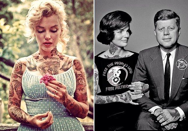 Artista imagina como seriam diferentes celebridades com o corpo coberto de tatuagens