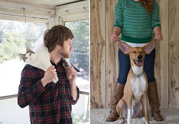 Série de fotos mostra cães e  gatos adotados (e felizes!) com seus novos donos