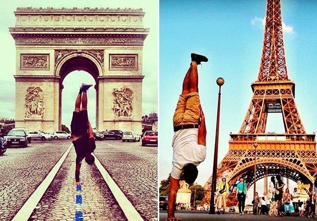 Dançarino tira fotos curiosas pelas ruas de Paris se equilibrando com uma mão só