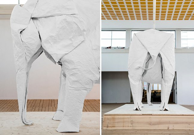 Artista cria origami gigante de elefante com apenas uma folha de papel