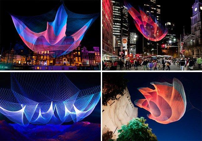 Artista espalha incríveis esculturas vivas feitas de redes de pesca  por várias cidades do mundo