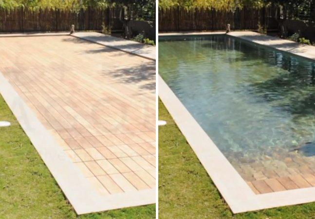 Basta um toque de botão para transformar esse deck de madeira em uma piscina