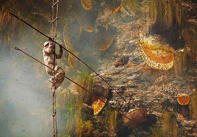 Fotógrafo registra de perto a arte em vias de extinção dos caçadores de mel do Nepal