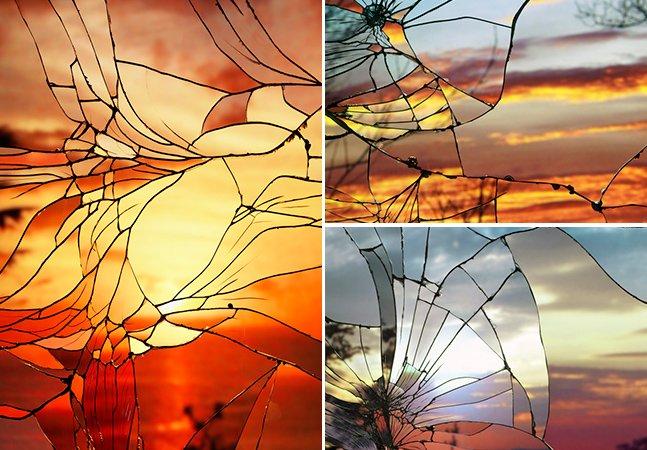 Você nunca poderia imaginar que pores-do-sol vistos através de um espelho quebrado fossem tão bonitos