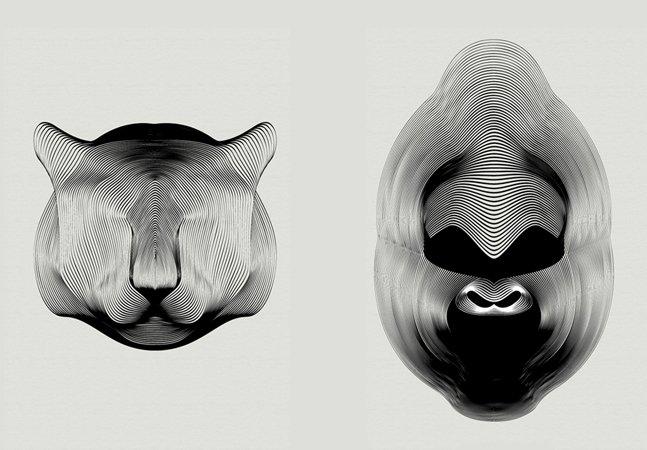 Ilustrações de animais feitas somente com linhas dão sensação incrível de profundidade e movimento