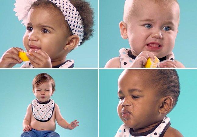 Mais bebês experimentando limão pela primeira vez. Mas agora num vídeo que promete te deixar derretido