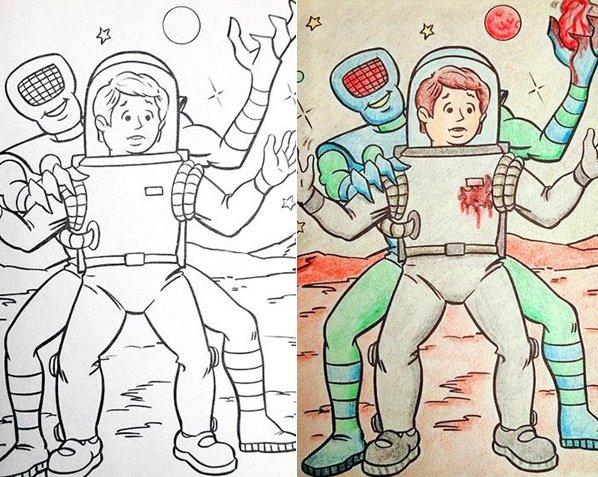 O que acontece quando adultos decidem colorir desenhos infantis