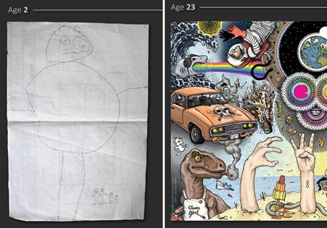 A evolução do desenho de um artista desde os 2 aos 24 anos