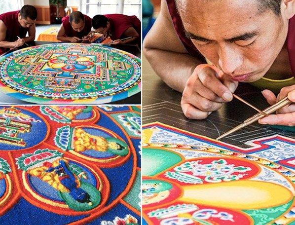 Monges criam fantásticas mandalas de areia e depois as destroem para simbolizar a inconstância da vida