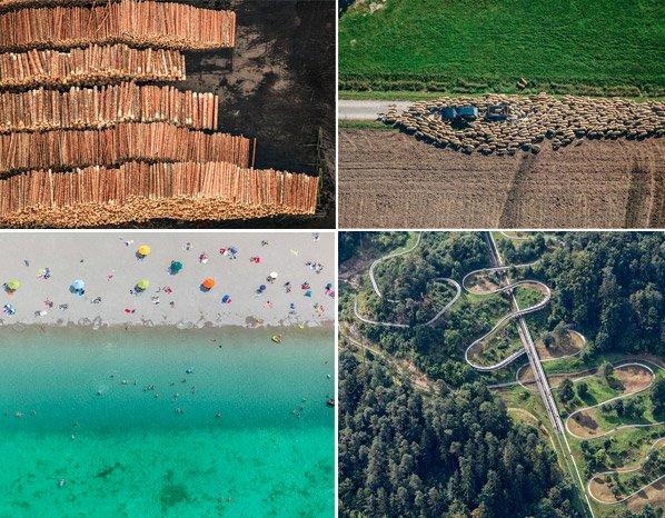Fotógrafo faz imagens aéreas registrando impressionantes paisagens transformadas pelos homens