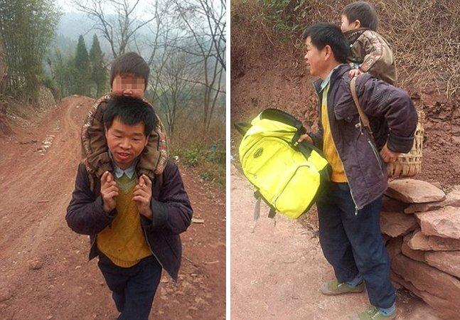 Pai dedicado anda 28 km todos os dias com o filho nas costas para o levar pra escola