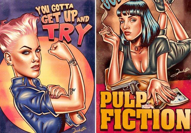 Artista brasileiro transforma famosas em pin-ups e cria posters incríveis