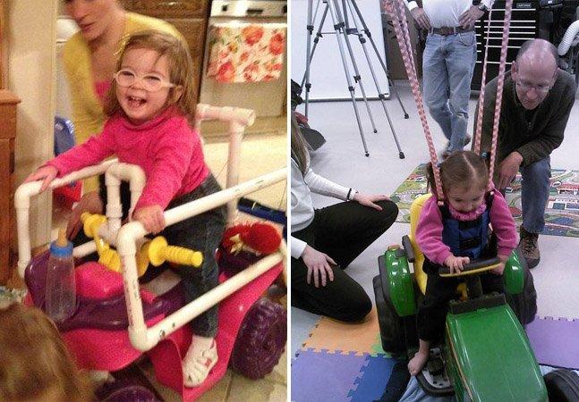 Carrinhos estilosos ajudam  crianças com deficiência física a fazer fisioterapia em casa