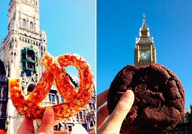 Essa mulher encontrou uma forma criativa de fotografar comidas e pontos turísticos pelo mundo