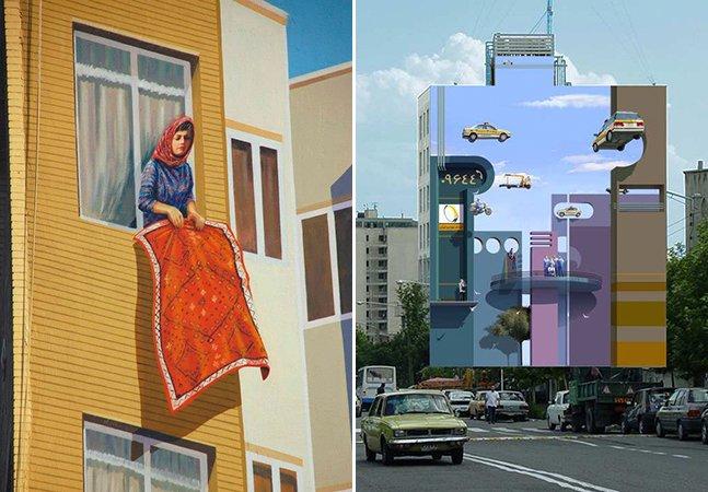 Artista de rua dá cor aos muros da capital do Irã com desenhos que vão confundir seus sentidos