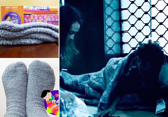 Projeto transforma meias velhas doadas por pessoas em cobertores para moradores de rua