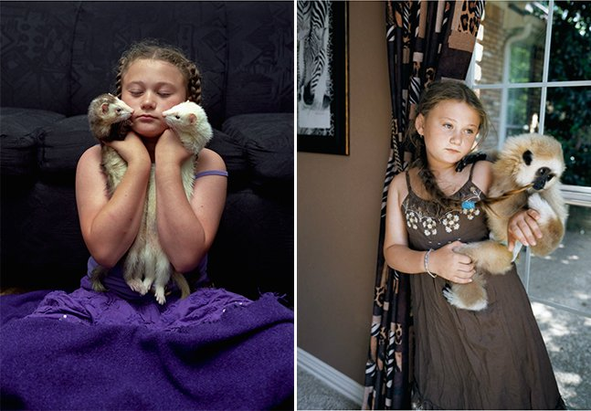 A menina que tira fotos com animais de várias espécies cresceu e continua amando os bichos