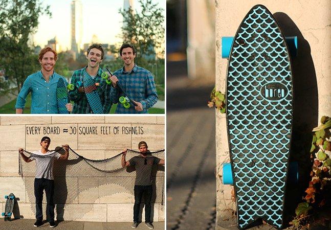 Para diminuir a poluição nas praias, jovens criam o primeiro skate do mundo feito com redes de pesca recicladas