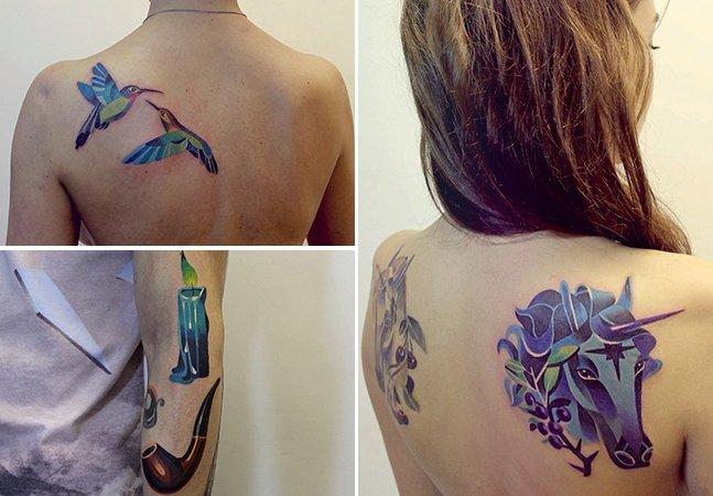 Explosão de cores e formas geométricas compõem as tatuagens desta incrível artista russa
